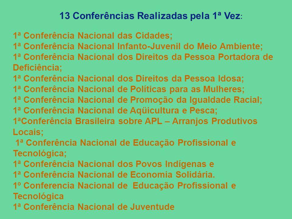 13 Conferências Realizadas pela 1ª Vez : 1ª Conferência Nacional das Cidades; 1ª Conferência Nacional Infanto-Juvenil do Meio Ambiente; 1ª Conferência