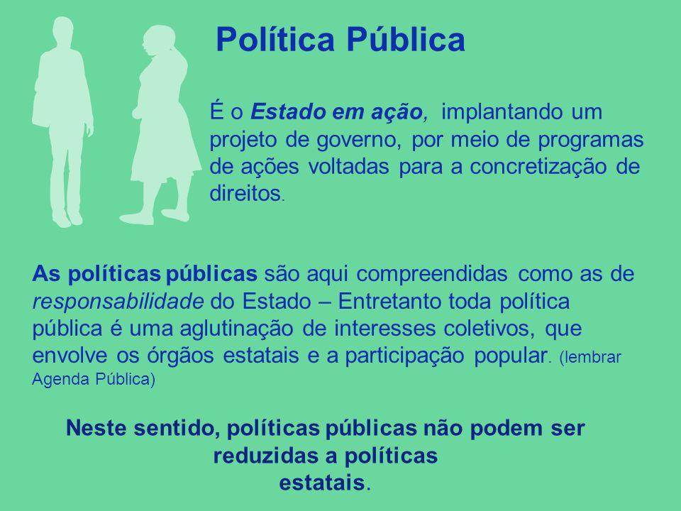 Política Pública É o Estado em ação, implantando um projeto de governo, por meio de programas de ações voltadas para a concretização de direitos. As p