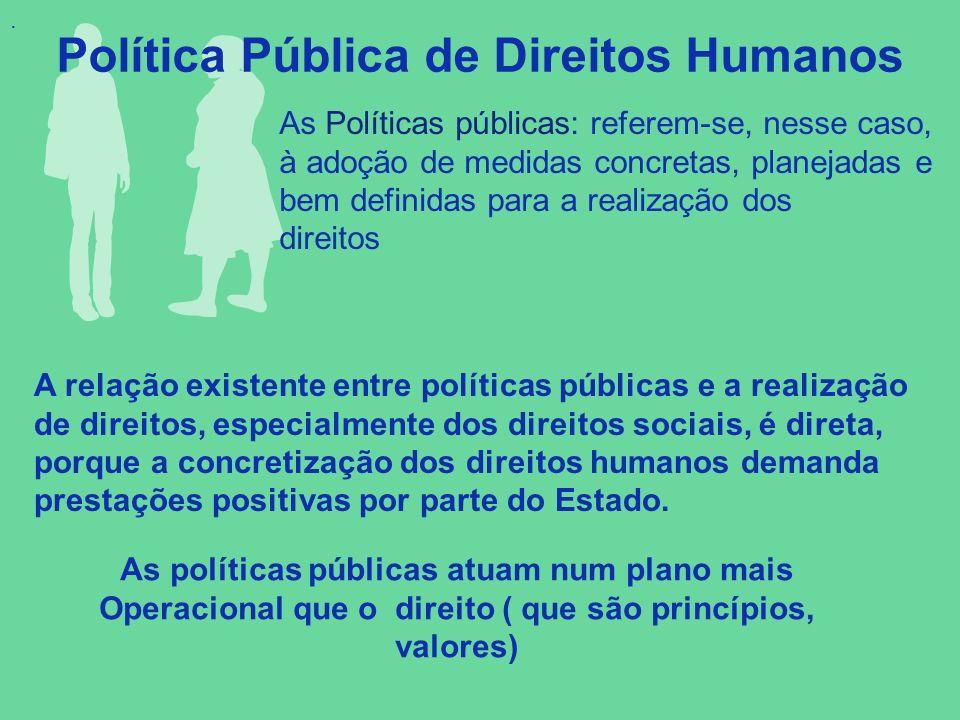 . Política Pública de Direitos Humanos. As Políticas públicas: referem-se, nesse caso, à adoção de medidas concretas, planejadas e bem definidas para