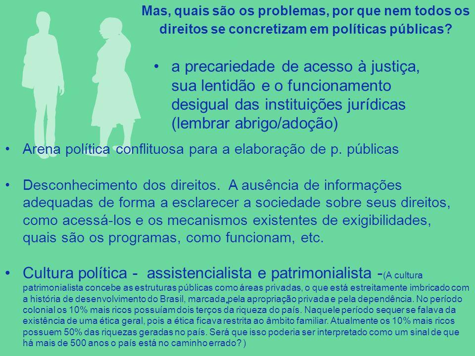 . a precariedade de acesso à justiça, sua lentidão e o funcionamento desigual das instituições jurídicas (lembrar abrigo/adoção) Arena política confli