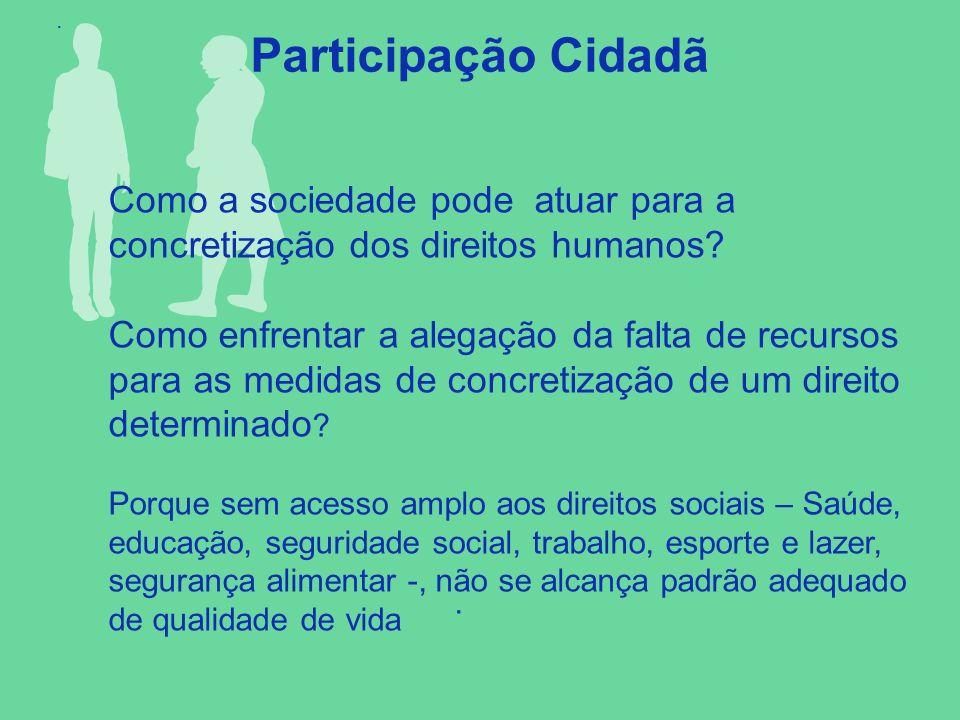 . Participação Cidadã. Como a sociedade pode atuar para a concretização dos direitos humanos? Como enfrentar a alegação da falta de recursos para as m