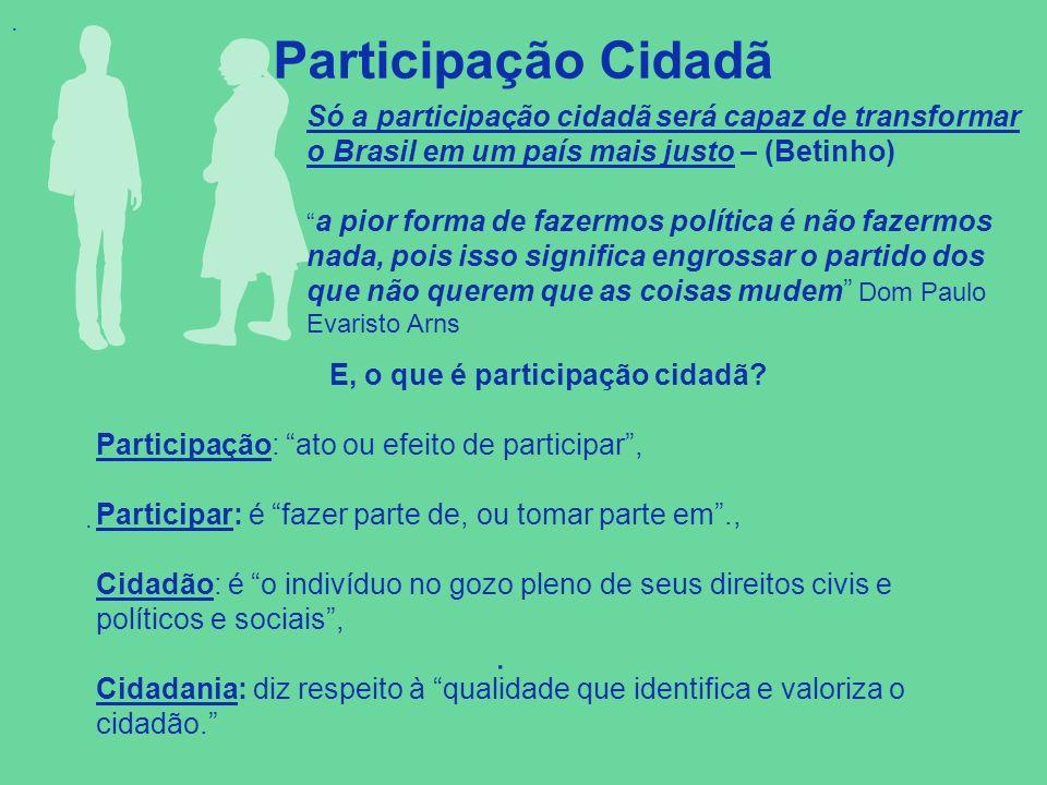 . Participação Cidadã.. Só a participação cidadã será capaz de transformar o Brasil em um país mais justo – (Betinho) a pior forma de fazermos polític