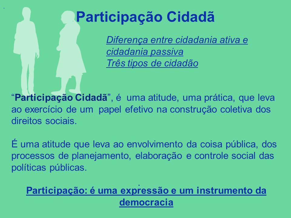 . Participação Cidadã.. Participação Cidadã, é uma atitude, uma prática, que leva ao exercício de um papel efetivo na construção coletiva dos direitos