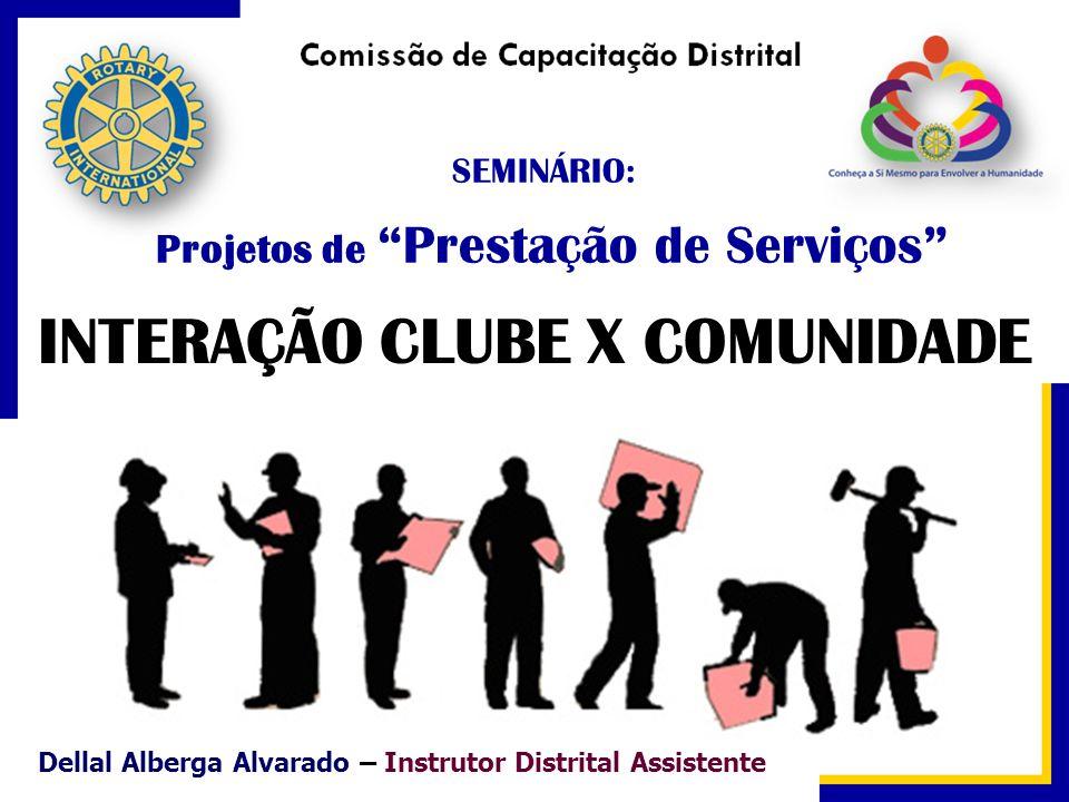 SEMINÁRIO: Projetos de Prestação de Serviços INTERAÇÃO CLUBE X COMUNIDADE Dellal Alberga Alvarado – Instrutor Distrital Assistente