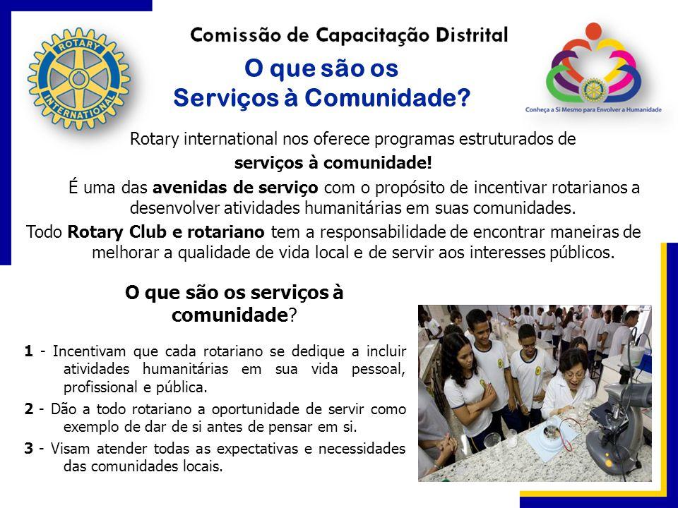 O que são os Serviços à Comunidade? Rotary international nos oferece programas estruturados de serviços à comunidade! É uma das avenidas de serviço co