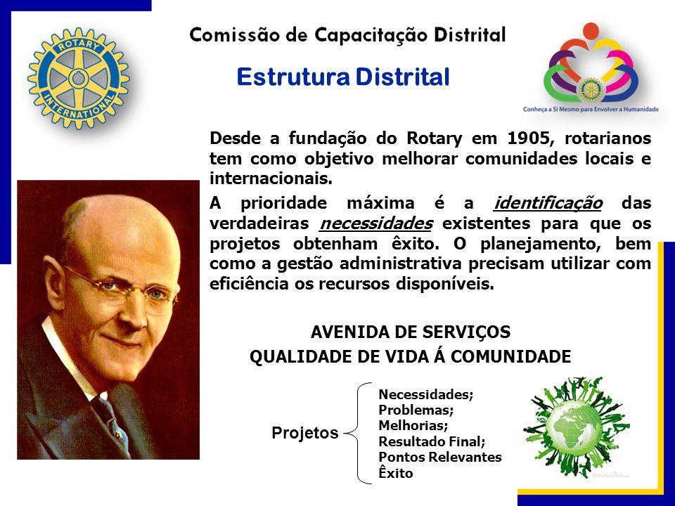 Estrutura Distrital Desde a fundação do Rotary em 1905, rotarianos tem como objetivo melhorar comunidades locais e internacionais. A prioridade máxima