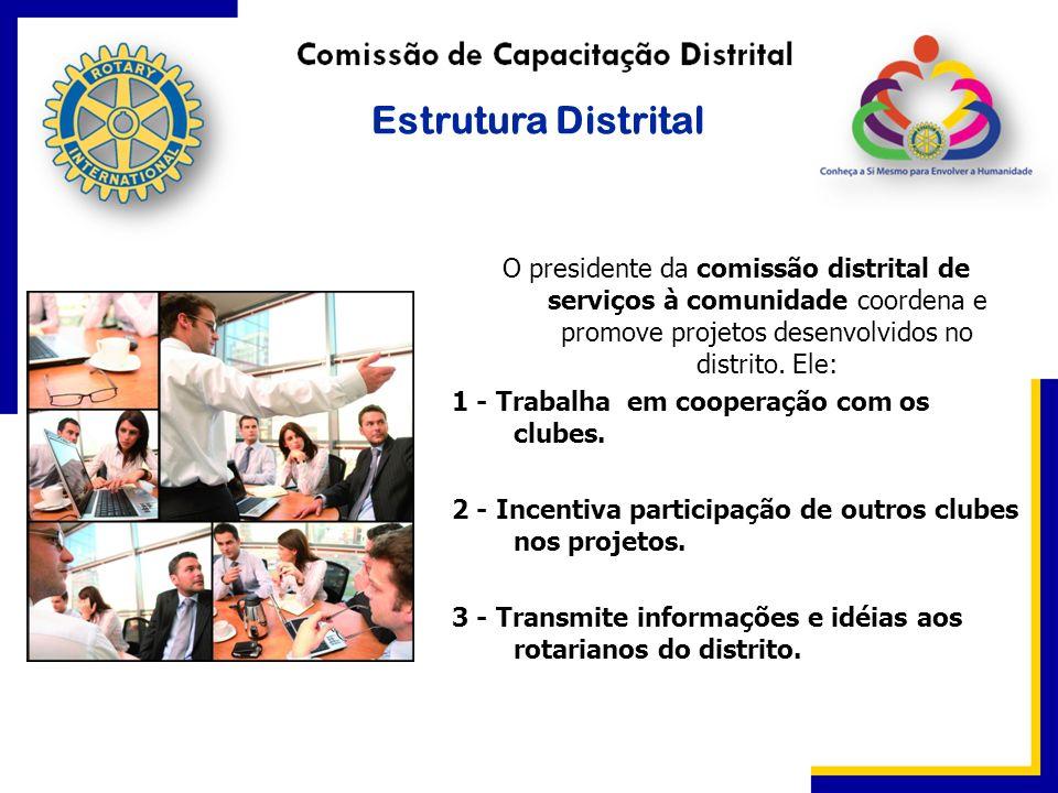 O presidente da comissão distrital de serviços à comunidade coordena e promove projetos desenvolvidos no distrito. Ele: 1 - Trabalha em cooperação com