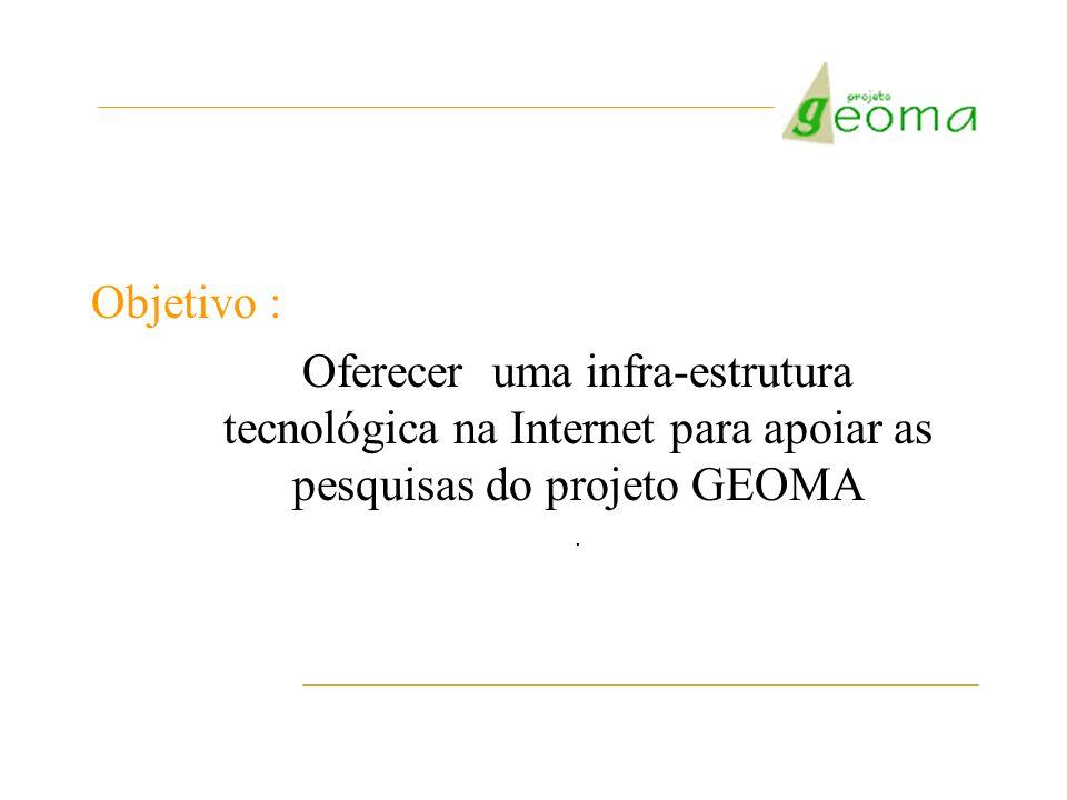 Objetivo : Oferecer uma infra-estrutura tecnológica na Internet para apoiar as pesquisas do projeto GEOMA.