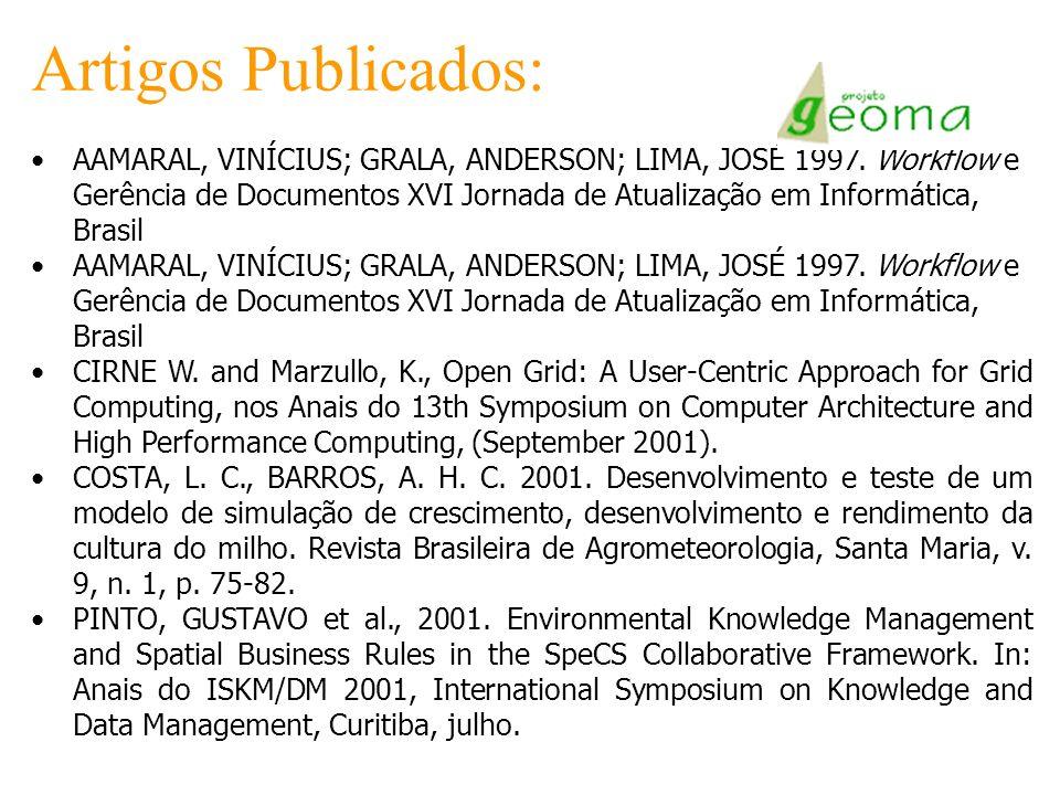 Artigos Publicados: AAMARAL, VINÍCIUS; GRALA, ANDERSON; LIMA, JOSÉ 1997. Workflow e Gerência de Documentos XVI Jornada de Atualização em Informática,