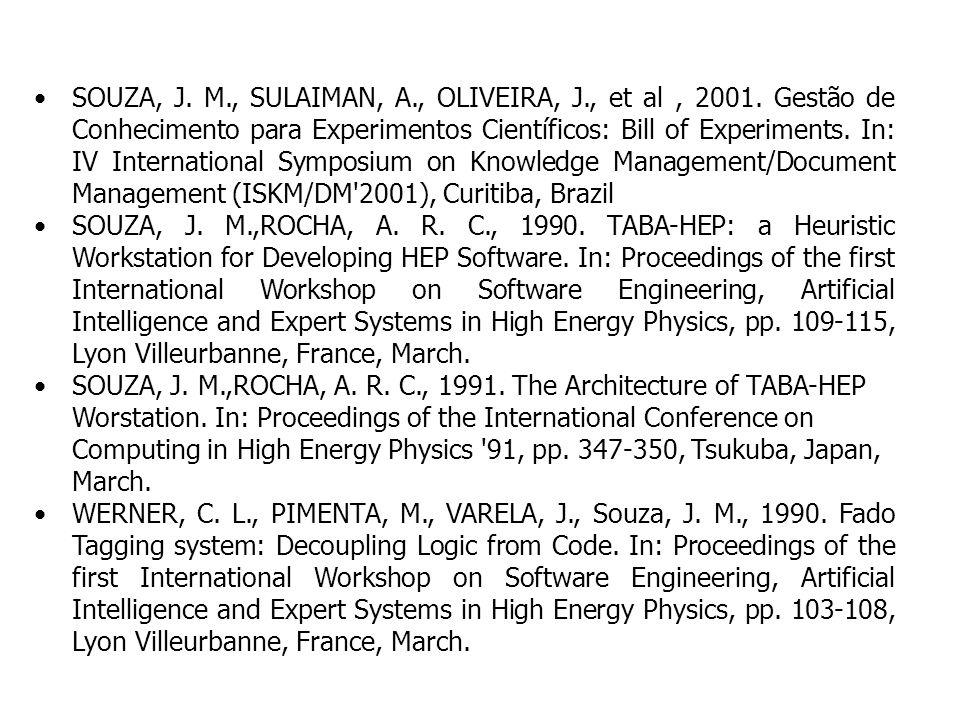 SOUZA, J. M., SULAIMAN, A., OLIVEIRA, J., et al, 2001. Gestão de Conhecimento para Experimentos Científicos: Bill of Experiments. In: IV International
