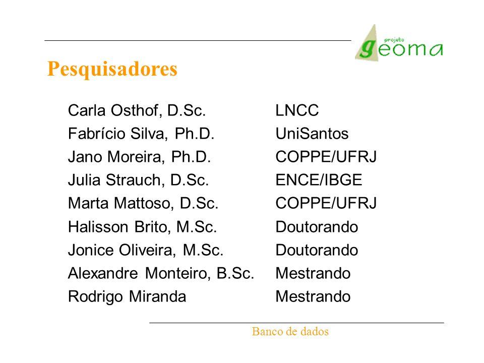 Pesquisadores Banco de dados Carla Osthof, D.Sc. Fabrício Silva, Ph.D. Jano Moreira, Ph.D. Julia Strauch, D.Sc. Marta Mattoso, D.Sc. Halisson Brito, M