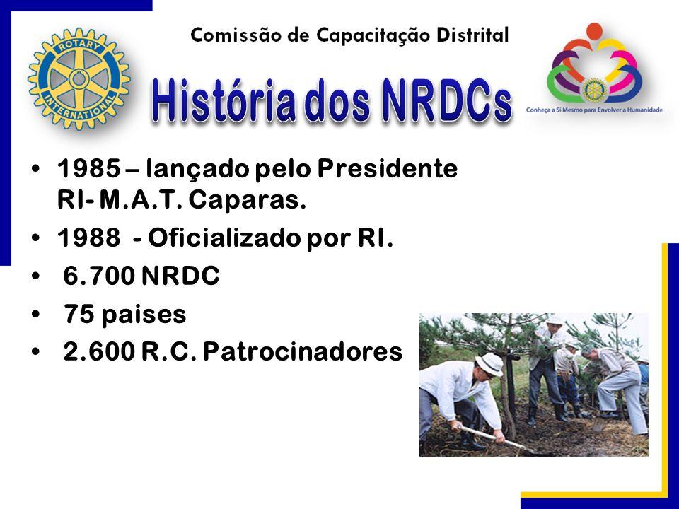 1985 – lançado pelo Presidente RI- M.A.T. Caparas. 1988 - Oficializado por RI. 6.700 NRDC 75 paises 2.600 R.C. Patrocinadores