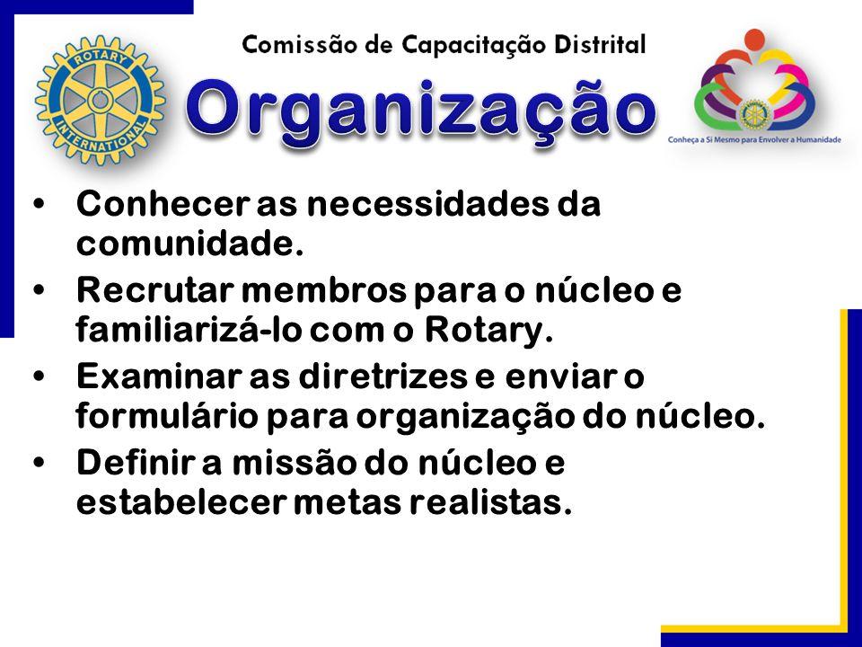 Conhecer as necessidades da comunidade. Recrutar membros para o núcleo e familiarizá-lo com o Rotary. Examinar as diretrizes e enviar o formulário par