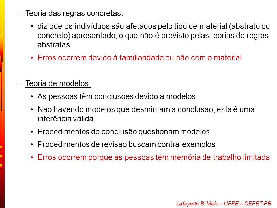 Lafayette B. Melo – UFPE – CEFET-PB Teorias do raciocínio –Teoria das regras abstratas: diz que o raciocínio humano usa um conjunto de regras bastante