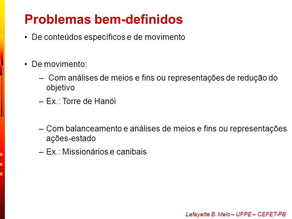 Lafayette B. Melo – UFPE – CEFET-PB Problemas bem-definidos e mal- definidos Problemas de transformação, de organização, de raciocínio indutivo e de r
