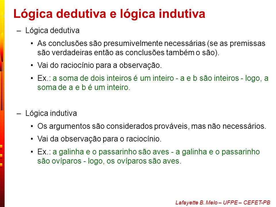 Lafayette B. Melo – UFPE – CEFET-PB Raciocínio lógico e resolução de problemas O que é lógica –Procedimentos utilizados para tirar conclusões de premi