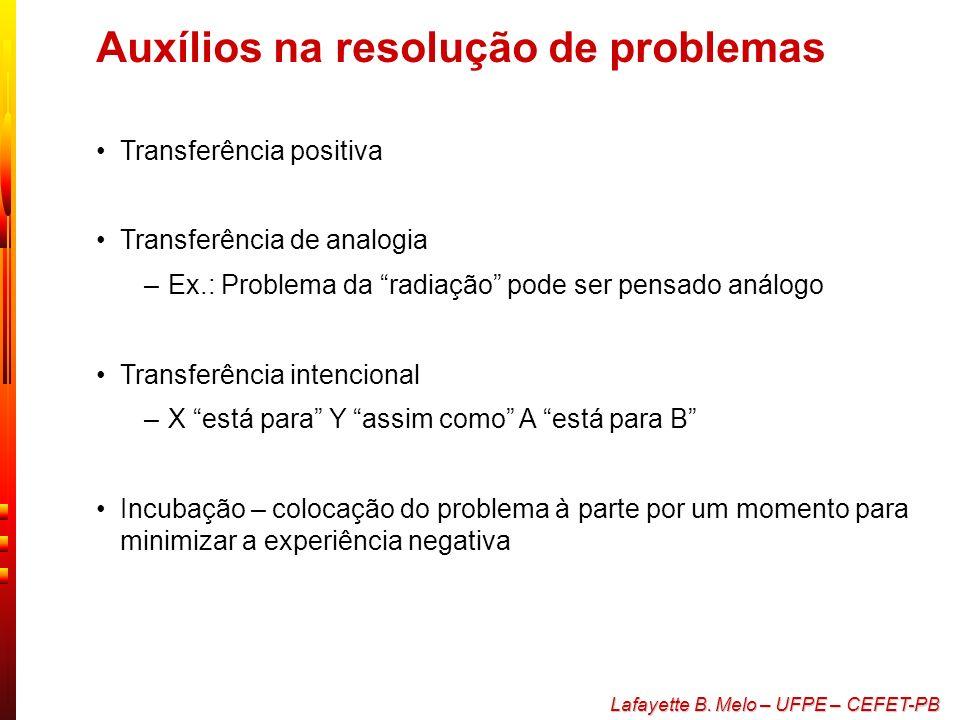 Lafayette B. Melo – UFPE – CEFET-PB Obstáculos na resolução de problemas Configuração mental - utilização de modelos ou contextos anteriormente existe