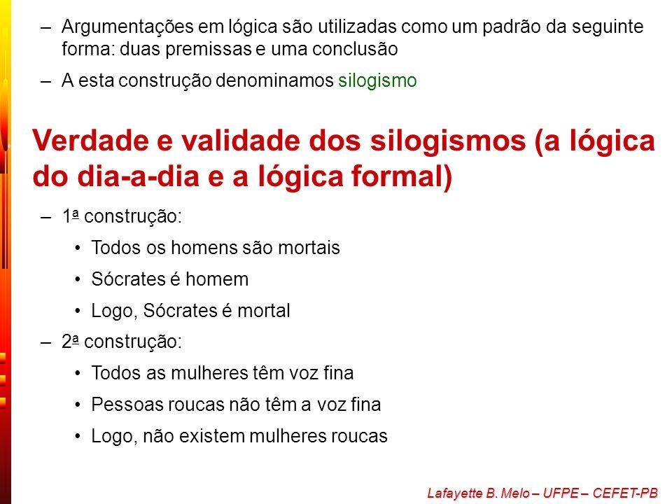 Lafayette B. Melo – UFPE – CEFET-PB Lógica dedutiva e lógica indutiva –Lógica dedutiva As conclusões são presumivelmente necessárias (se as premissas
