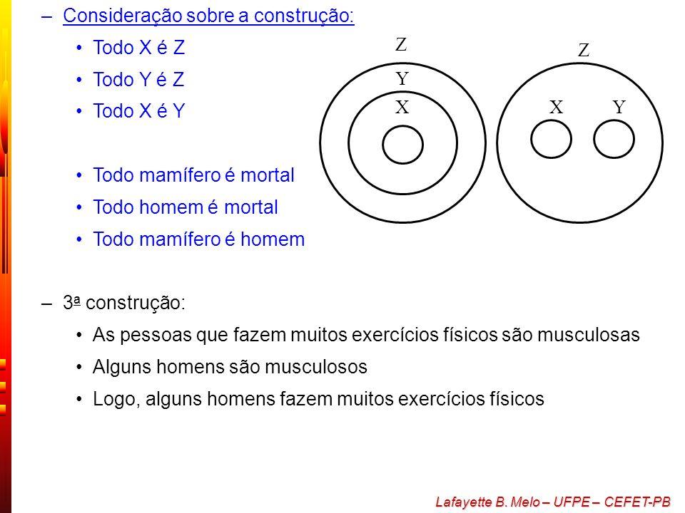 Lafayette B. Melo – UFPE – CEFET-PB –Argumentações em lógica são utilizadas como um padrão da seguinte forma: duas premissas e uma conclusão –A esta c