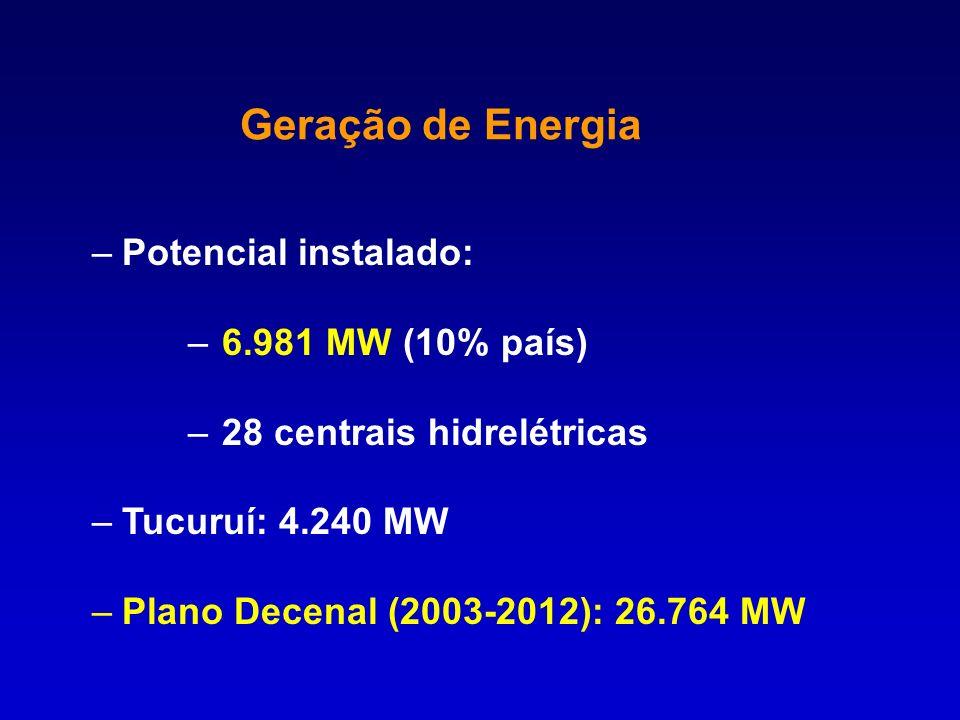 –Potencial instalado: – 6.981 MW (10% país) – 28 centrais hidrelétricas –Tucuruí: 4.240 MW –Plano Decenal (2003-2012): 26.764 MW Geração de Energia