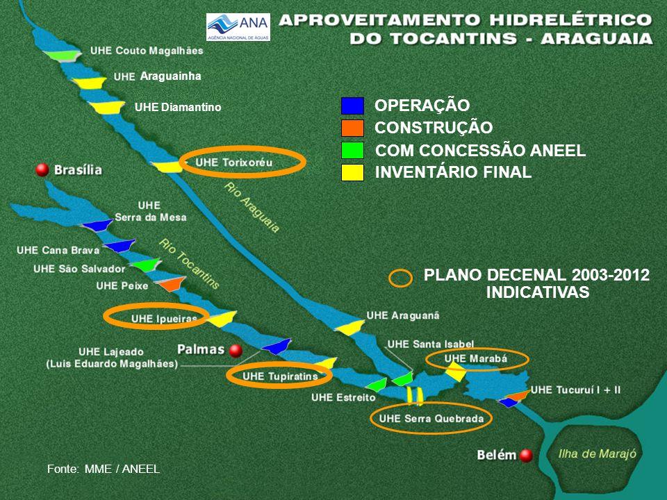 OPERAÇÃO CONSTRUÇÃO PLANO DECENAL 2003-2012 INDICATIVAS COM CONCESSÃO ANEEL INVENTÁRIO FINAL UHE Diamantino Fonte: MME / ANEEL Araguainha