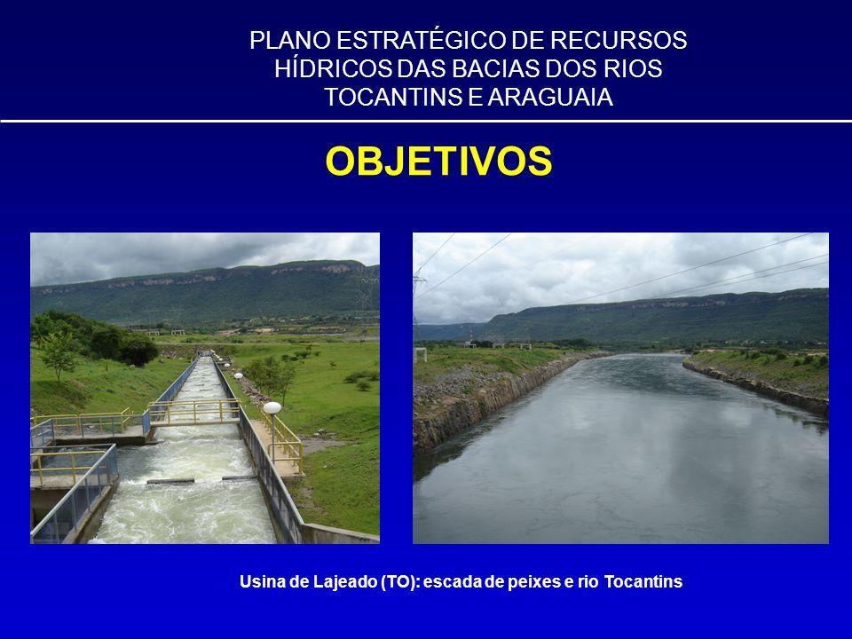 PLANO ESTRATÉGICO DE RECURSOS HÍDRICOS DAS BACIAS DOS RIOS TOCANTINS E ARAGUAIA OBJETIVOS Usina de Lajeado (TO): escada de peixes e rio Tocantins