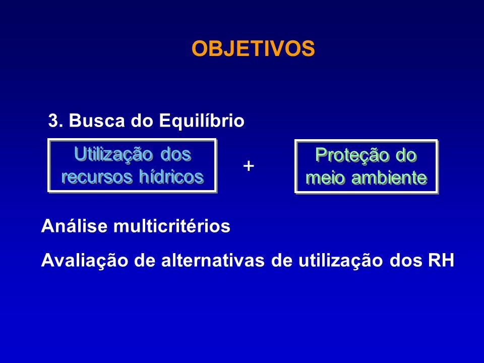 3. Busca do Equilíbrio Utilização dos recursos hídricos Proteção do meio ambiente Análise multicritérios Avaliação de alternativas de utilização dos R