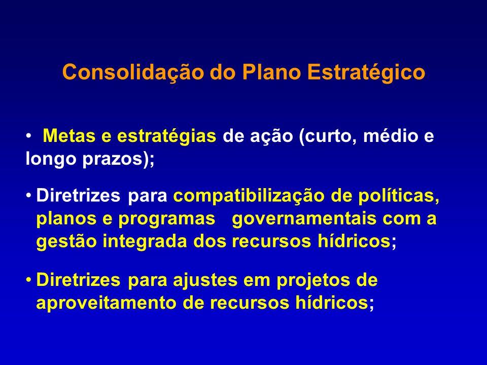 Consolidação do Plano Estratégico Metas e estratégias de ação (curto, médio e longo prazos); Diretrizes para compatibilização de políticas, planos e p