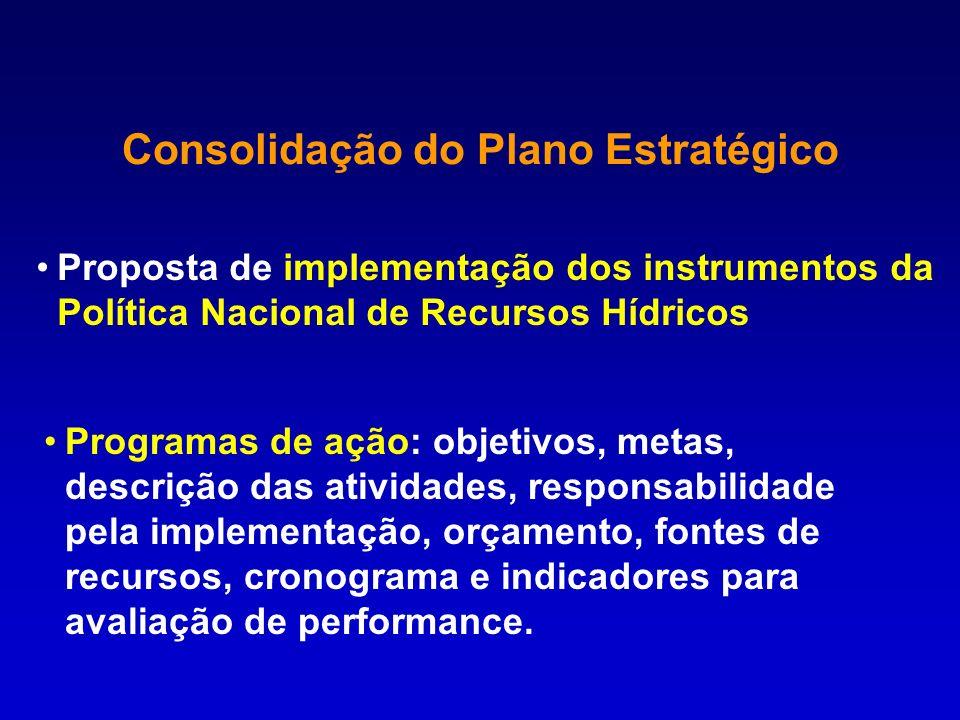 Consolidação do Plano Estratégico Proposta de implementação dos instrumentos da Política Nacional de Recursos Hídricos Programas de ação: objetivos, m