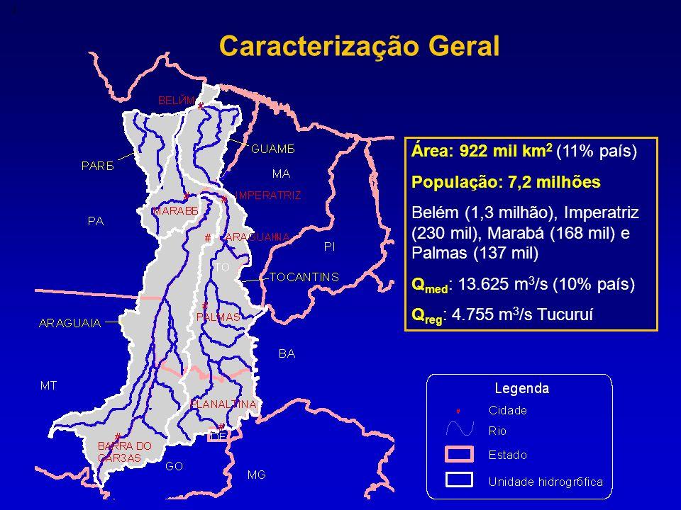 Caracterização Geral Área: 922 mil km 2 (11% país) População: 7,2 milhões Belém (1,3 milhão), Imperatriz (230 mil), Marabá (168 mil) e Palmas (137 mil