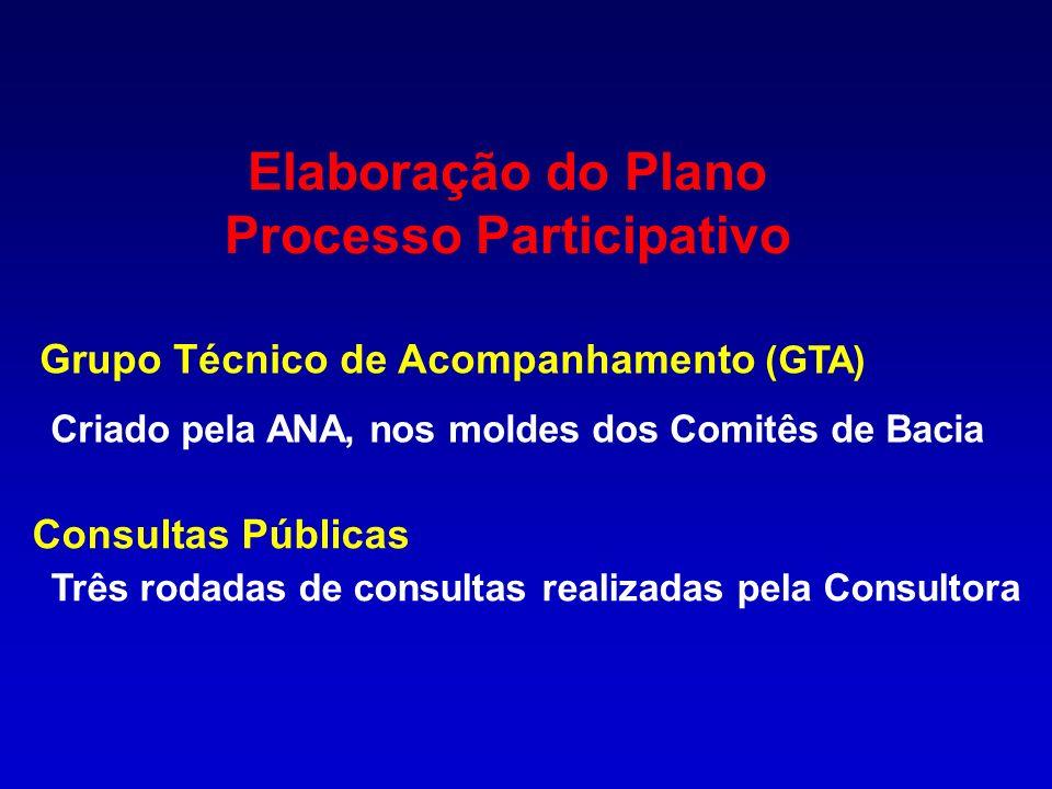 Elaboração do Plano Processo Participativo Grupo Técnico de Acompanhamento (GTA) Criado pela ANA, nos moldes dos Comitês de Bacia Consultas Públicas T