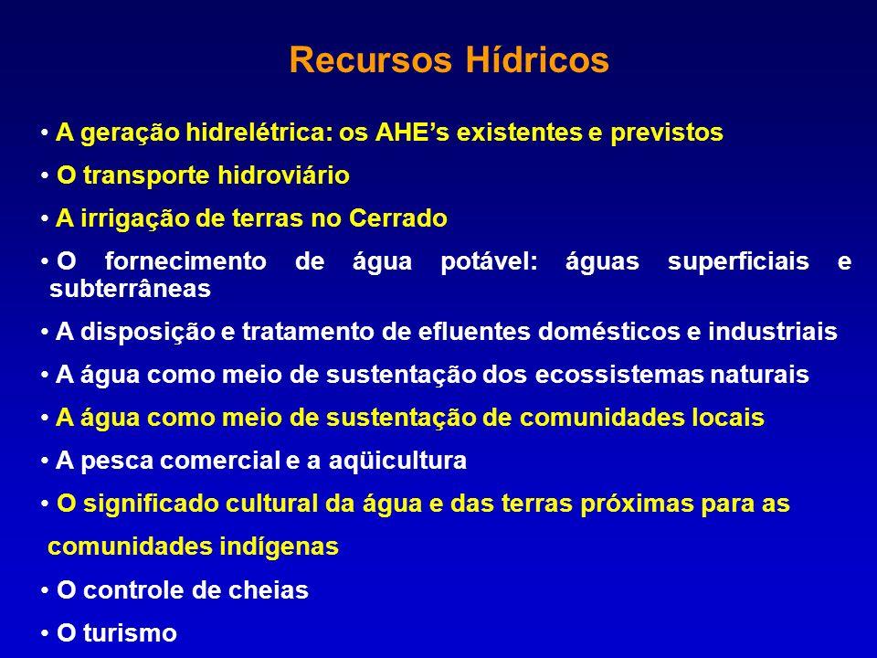 Recursos Hídricos A geração hidrelétrica: os AHEs existentes e previstos O transporte hidroviário A irrigação de terras no Cerrado O fornecimento de á