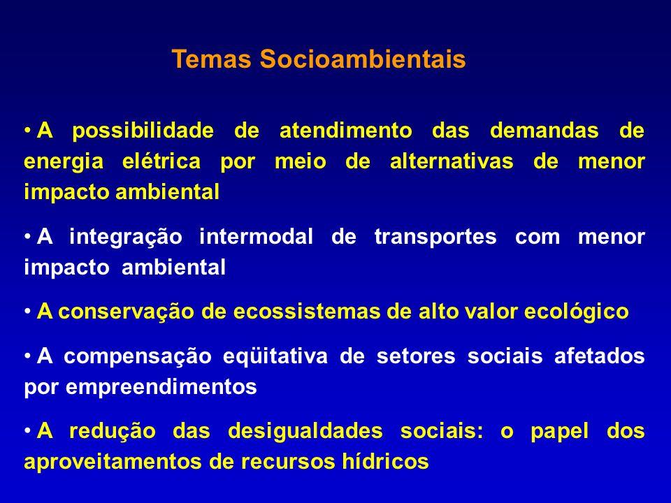 A possibilidade de atendimento das demandas de energia elétrica por meio de alternativas de menor impacto ambiental A integração intermodal de transpo