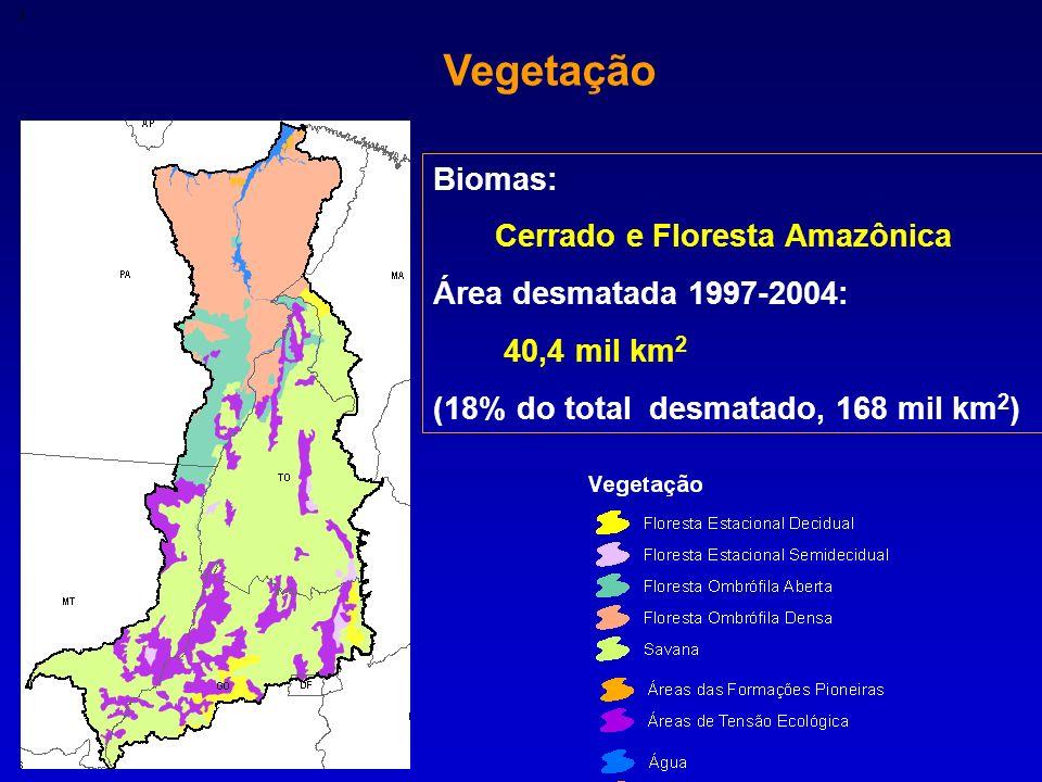 3 Vegetação Biomas: Cerrado e Floresta Amazônica Área desmatada 1997-2004: 40,4 mil km 2 (18% do total desmatado, 168 mil km 2 )