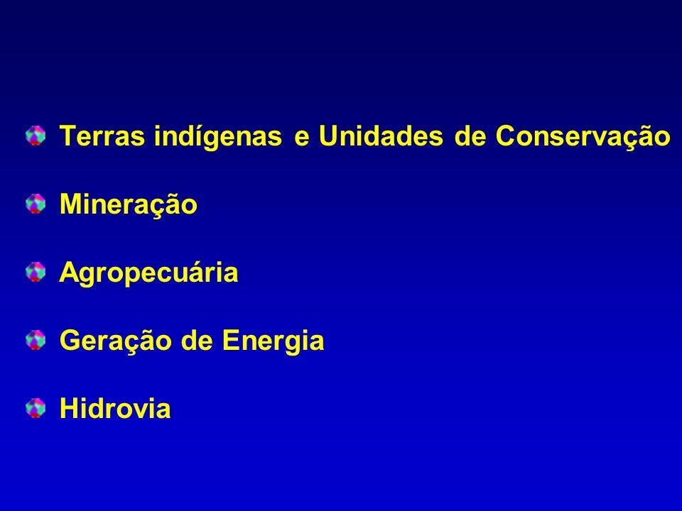 Terras indígenas e Unidades de Conservação Mineração Agropecuária Geração de Energia Hidrovia