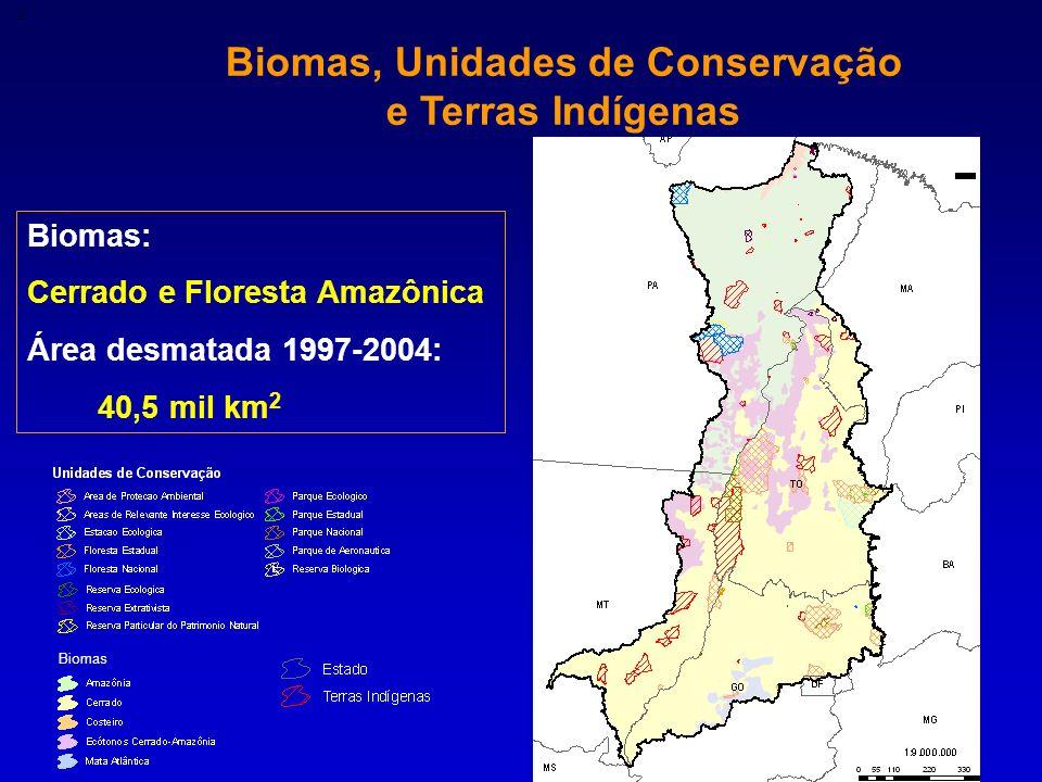 Biomas, Unidades de Conservação e Terras Indígenas 2 Biomas: Cerrado e Floresta Amazônica Área desmatada 1997-2004: 40,5 mil km 2 Biomas