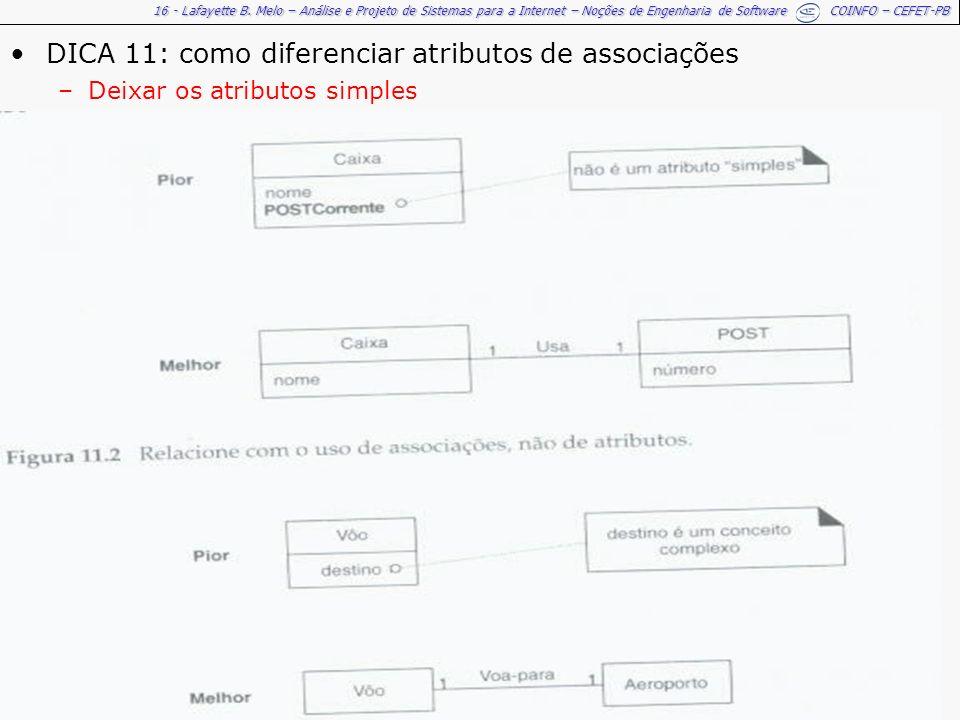 16 - Lafayette B. Melo – Análise e Projeto de Sistemas para a Internet – Noções de Engenharia de Software COINFO – CEFET-PB DICA 11: como diferenciar