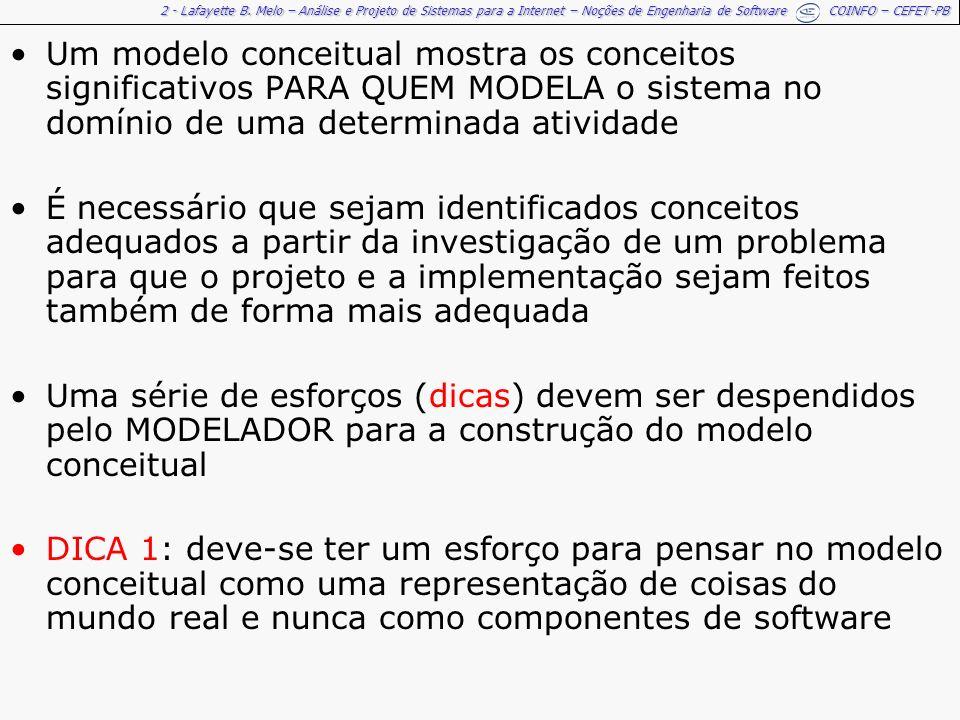 2 - Lafayette B. Melo – Análise e Projeto de Sistemas para a Internet – Noções de Engenharia de Software COINFO – CEFET-PB Um modelo conceitual mostra