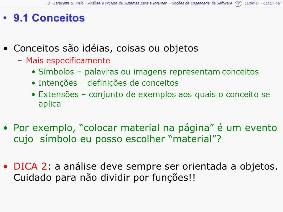3 - Lafayette B. Melo – Análise e Projeto de Sistemas para a Internet – Noções de Engenharia de Software COINFO – CEFET-PB 9.1 Conceitos9.1 Conceitos