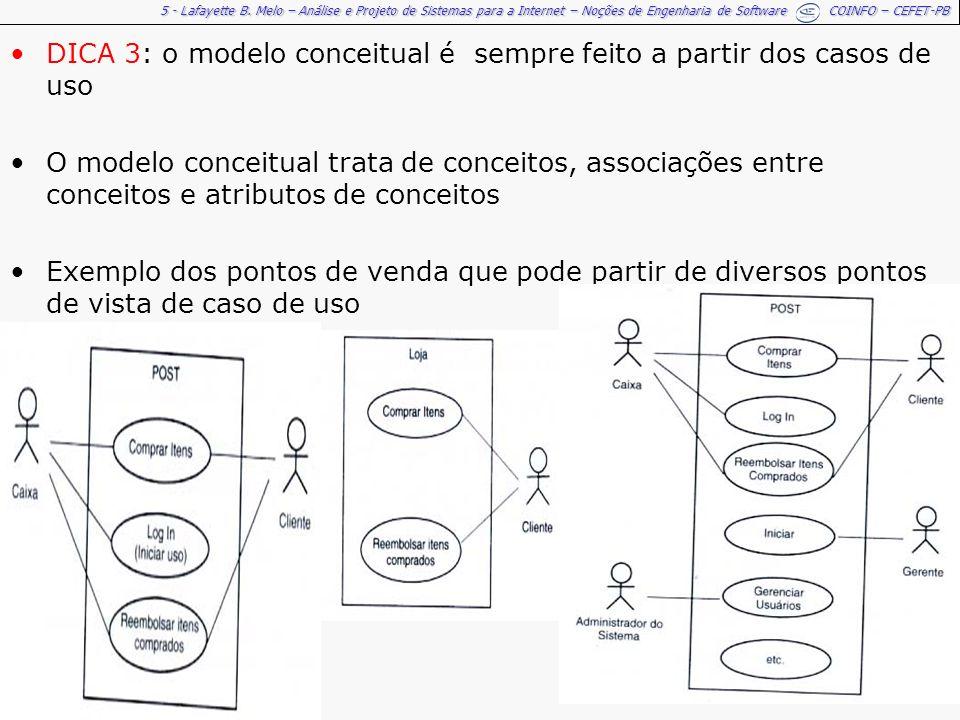 5 - Lafayette B. Melo – Análise e Projeto de Sistemas para a Internet – Noções de Engenharia de Software COINFO – CEFET-PB DICA 3: o modelo conceitual