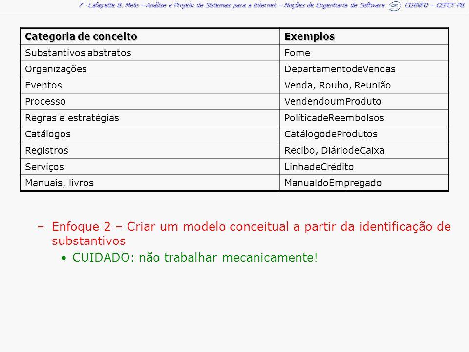 7 - Lafayette B. Melo – Análise e Projeto de Sistemas para a Internet – Noções de Engenharia de Software COINFO – CEFET-PB Categoria de conceito Exemp