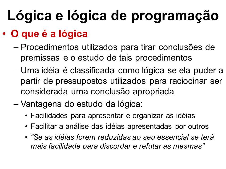 Lógica e lógica de programação O que é a lógica –Procedimentos utilizados para tirar conclusões de premissas e o estudo de tais procedimentos –Uma idéia é classificada como lógica se ela puder a partir de pressupostos utilizados para raciocinar ser considerada uma conclusão apropriada –Vantagens do estudo da lógica: Facilidades para apresentar e organizar as idéias Facilitar a análise das idéias apresentadas por outros Se as idéias forem reduzidas ao seu essencial se terá mais facilidade para discordar e refutar as mesmas