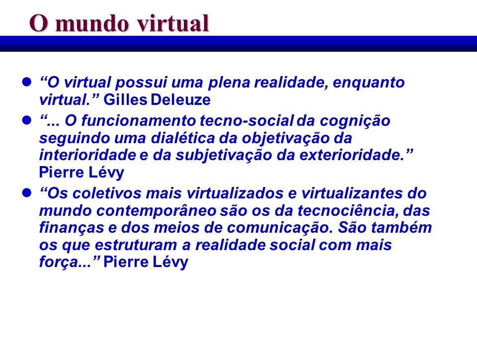 O mundo virtual O virtual possui uma plena realidade, enquanto virtual. Gilles Deleuze... O funcionamento tecno-social da cognição seguindo uma dialét