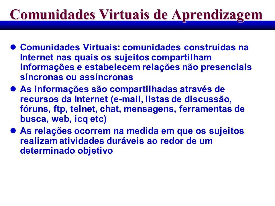 Comunidades Virtuais de Aprendizagem Comunidades Virtuais: comunidades construídas na Internet nas quais os sujeitos compartilham informações e estabe