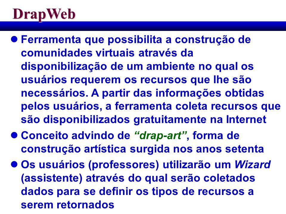 DrapWeb Ferramenta que possibilita a construção de comunidades virtuais através da disponibilização de um ambiente no qual os usuários requerem os rec