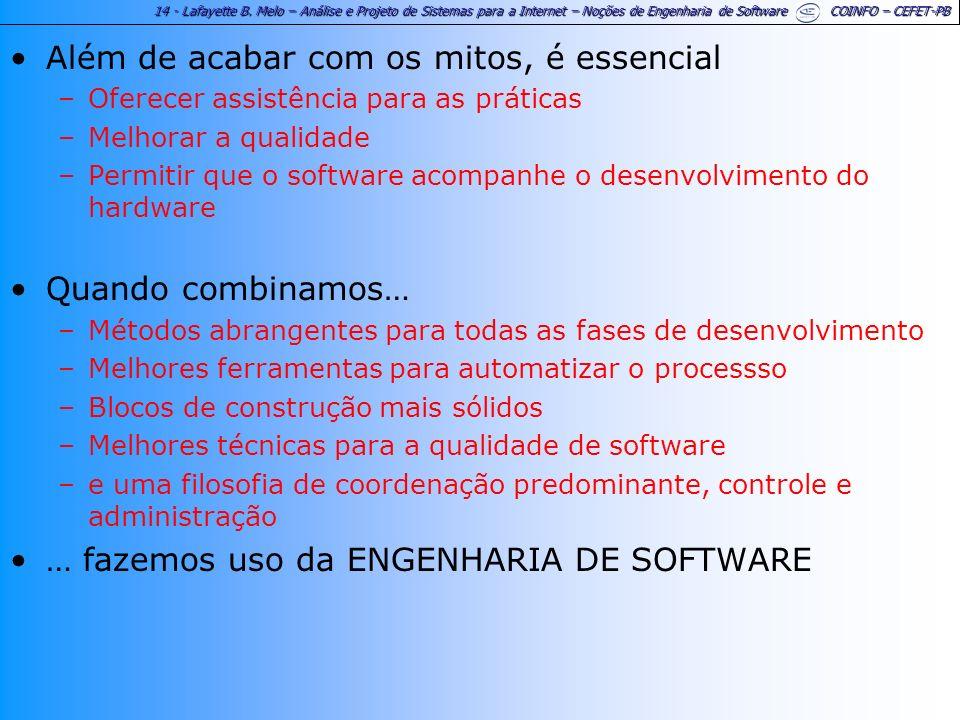 14 - Lafayette B. Melo – Análise e Projeto de Sistemas para a Internet – Noções de Engenharia de Software COINFO – CEFET-PB Além de acabar com os mito