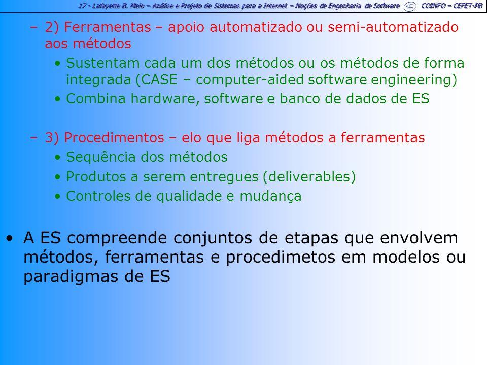 17 - Lafayette B. Melo – Análise e Projeto de Sistemas para a Internet – Noções de Engenharia de Software COINFO – CEFET-PB –2) Ferramentas – apoio au