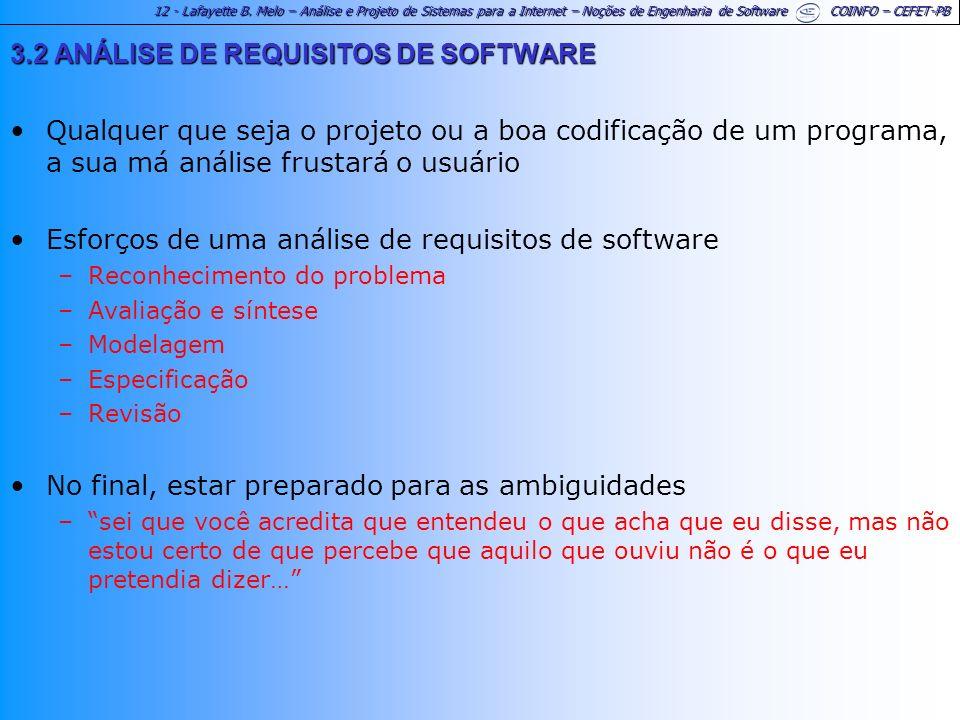 12 - Lafayette B. Melo – Análise e Projeto de Sistemas para a Internet – Noções de Engenharia de Software COINFO – CEFET-PB 3.2 ANÁLISE DE REQUISITOS