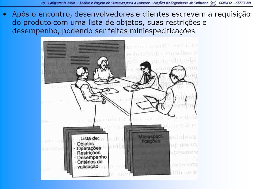 18 - Lafayette B. Melo – Análise e Projeto de Sistemas para a Internet – Noções de Engenharia de Software COINFO – CEFET-PB Após o encontro, desenvolv