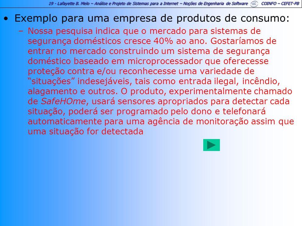 19 - Lafayette B. Melo – Análise e Projeto de Sistemas para a Internet – Noções de Engenharia de Software COINFO – CEFET-PB Exemplo para uma empresa d
